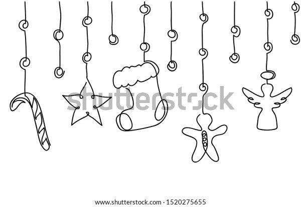 Xmas, Christmas decorative hanging border. Vector background, banner with candy cane, angel, star, sock, stock, gingerbread man.