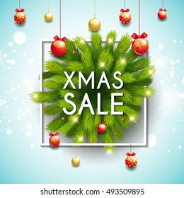 Xmas Christmas sale modern design template with sparkles, dot, pine tree branches, frame. Beautiful template for sale, advertising, banner, poster, card, menu. Contemporary design