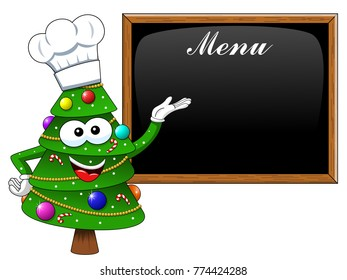 xmas or christmas tree mascot cook character presenting menu blank blackboard isolated