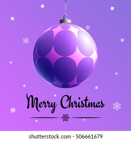 Xmas concept. Christmas greeting card. Multicolor banner with dangling realistic color toy. Design template with word of congratulation. Holiday poster with text, 3d glass ball and magical background