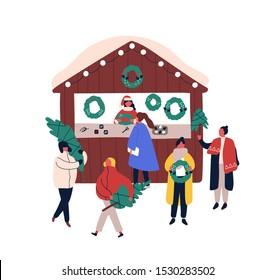 Xmas decorations kiosk flat vector illustration. Saleswoman and customers cartoon characters. Christmas fair, seasonal street market design element. People buying fir trees and festive wreaths.