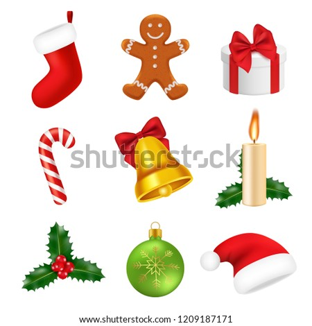 cef18dd8b0c48 Xmas decorations realistic. 2019 new year 3d symbols sweets green tree  gifts snowflakes santa vector icons isolated. Illustration of christmas or  new year ...