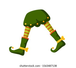 Xmas elf legs flat vector illustration. Little santa helper, funny medieval jester outfit part. Striped stockings, pants and shoes with bells side view. Festive outfit item isolated on white.