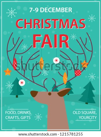 Xmas Fair Market Poster Flyer Banner Stock Vector Royalty Free