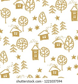 Xmas forest with houses in naive style seamless pattern. Christmas holiday simple hand drawn motif. Winter cute wrapping paper design.
