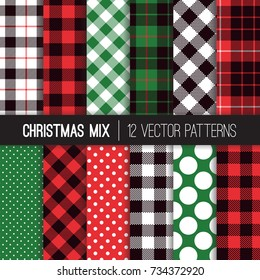 Xmas Green, Red, Black and White Polka Dots, Gingham and Tartan Plaid Vector Patterns. Set of Christmas Backgrounds. Trendy Hipster Flannel Shirt Checks.  Pattern Tile Swatches Included.