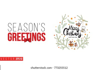 Seasons greetings images stock photos vectors shutterstock xmas greeting card with composition of fir twigs stars gifts and text seasons greetings m4hsunfo Image collections