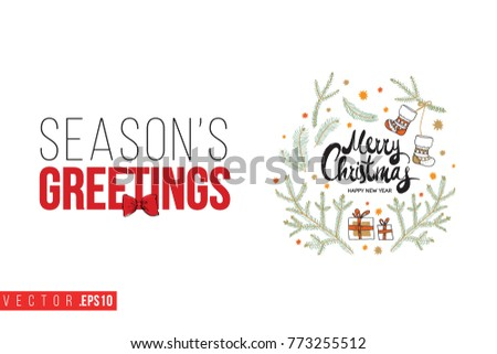 Xmas greeting card composition fir twigs stock vector royalty free xmas greeting card with composition of fir twigs stars gifts and text seasons greetings m4hsunfo
