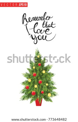 Xmas Greeting Card Fir Tree Text Stock Vector (Royalty Free ...