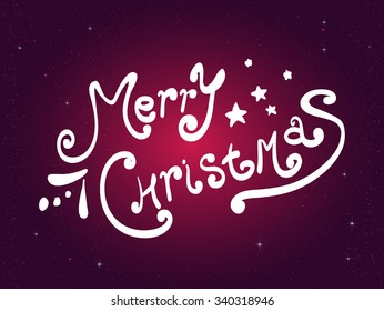 Xmas Greeting Card. Merry Christmas lettering, purple background with white snowflakes. Handwriting. Vector illustration