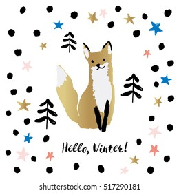 Xmas greeting card template Hello, Winter on the white background.  Print with cute gold fox in the forest with stars and snow. Vector illustration with animal.