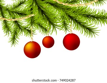 Xmas happy holiday Christmas ball mockup. Vector golden garland fairy tale shine background illustration. New year winter decoration card. Christmas realistic fluffy green pine tree greeting template.