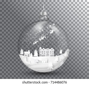 Xmas and happy new year glass ball on transparent background, paper art landscape with tree and house design. vector illustration