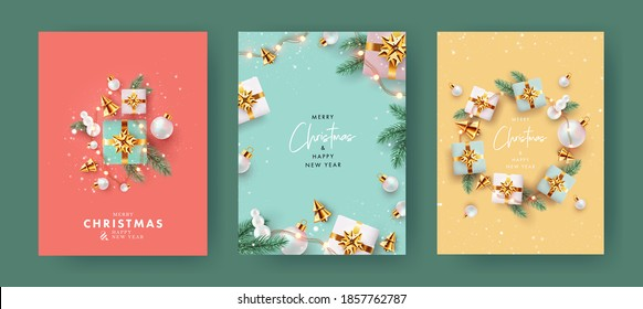 Xmas modern design with 3d realistic golden gift boxes, pine branches, golden conical Christmas trees, balls and falling snow. Christmas Set of greeting cards, posters, holiday covers, web banners