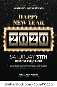 Xmas and New 2020 Year party club flyer. Eps10 vector template.