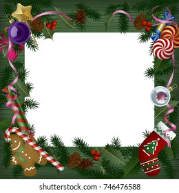 Xmas and  New Year banner and greeting card. White sheet on green wood table among the Christmas decorations. Vector illustration