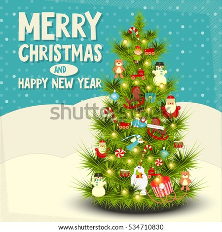 Xmas new year card decorated christmas stock vector royalty free xmas and new year card decorated christmas tree on winter background vector illustration m4hsunfo
