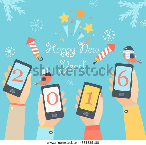 Xmas and New Year holidays design. Flat vector illustration. Concept for mobile apps.