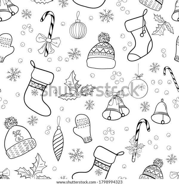 Xmas and New Year seamless pattern with black and white elements in doodle style. Christmas background with contour items for wrapping paper, wallpaper, textiles. Vector illustration.