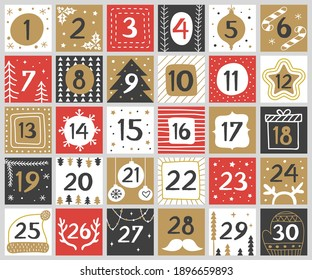Xmas numbers. Joy funny lettering geometric round forms festive concept calendar numbers recent vector templates for celebration placards