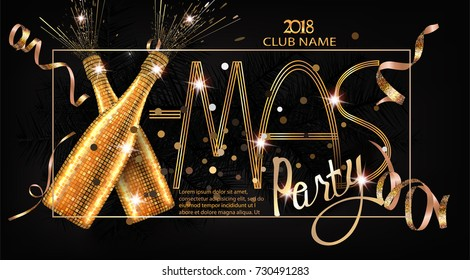Xmas party invitation card with christmas deco objects. Vector illustration