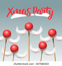 Xmas Party, Merry Christmas card with Santa's moustache, vector illustration.