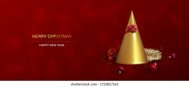 Xmas Poster, greeting card, banner. New Year horizontal Background with Sparkling Christmas tree, Abstract Gold Christmas Tree.