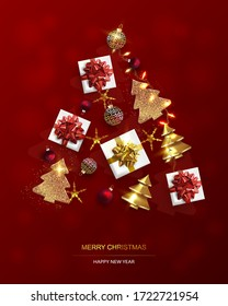 Weihnachts-Poster, Grußkarte. Neujahrshintergrund mit Weihnachtsbaum. Abstrakte Weihnachtsbaumen aus Gold.