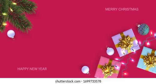 Weihnachten-Poster, Grußkarten, Banner. Hintergrund Neujahr. Flatte Draufsicht von Geschenkbox und Kiefernzweig.