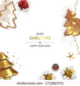 Weihnachten-Poster, Grußkarten, Banner. Horizontaler Neujahrshintergrund mit glänzendem Weihnachtsbaum und abstrakten Goldweihnachtsbaumen.
