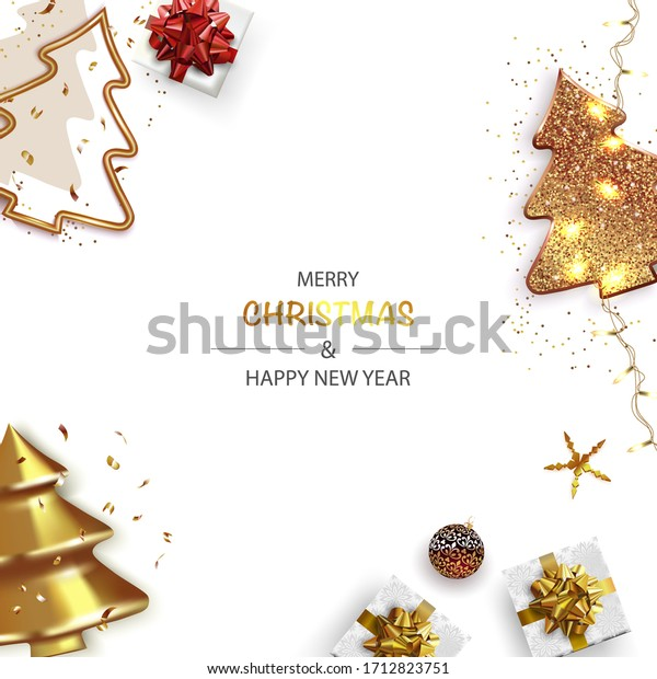 Xmas Poster, greeting cards, banner. New Year horizontal Background with Sparkling Christmas tree and Abstract Gold Christmas Trees.