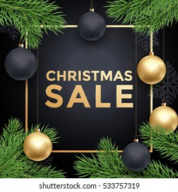 Xmas Sale gold text poster. Premium luxury background with snowflakes pattern, gold glitter. Retail offer promo card. Ball ornament decorations and Christmas tree branches