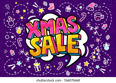 Xmas Sale Message in pop art style, promotional background, presentation poster. Vector illustration.