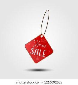 Xmas sale on red price tag vector illustration.