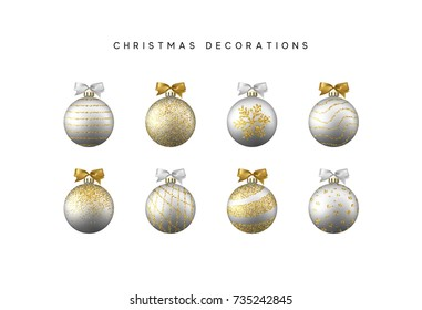 Xmas set balls silver and gold color. Christmas bauble decoration elements.