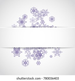 Xmas theme sale with ultraviolet snowflakes.  Winter frame for gift coupons, vouchers, ads, party events. Christmas white background. Paper banner for xmas theme. New Year frosty backdrop