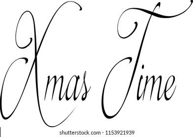 Xmas time text sign illustration on white illustration