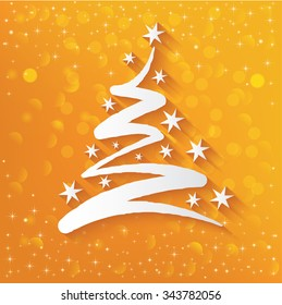 Xmas tree concept on yellow background,vector