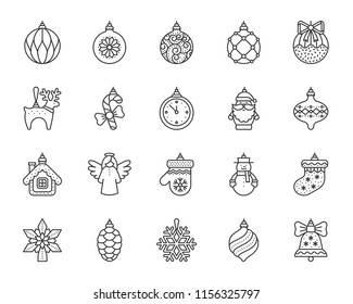 Xmas tree decorations thin line icon set. Outline sign kit of hang christmas ball. Baubles linear icons of santa claus, snow house, angel. Simple xmas tree decor symbol isolated vector Illustration