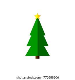 Xmas tree icon, Christmas symbol, flat design template, vector illustration