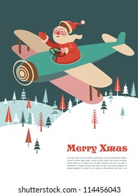 Xmas vector background with airplane and Santa
