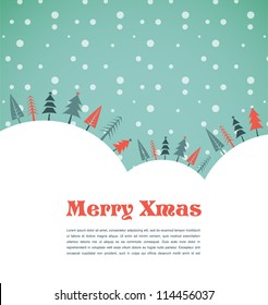 Xmas vector background with trees and snow