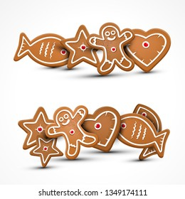 Xmas Vector Gingerbread Cookies. Christmas Star, Fish, Man and Heart Cookie.