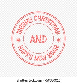 Xmas Vector Stamp Isolated on Light Background. Christmas and New Year celebration. Vector Illustration of Grunge Rubber Stamp.