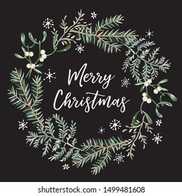 Xmas wreath with text Merry Christmas, black background. Green fir twigs, fern, mistletoe, snowflakes. Vector illustration. Nature design. Greeting card, poster template. Winter season holidays