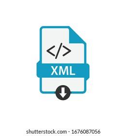 XML file document download css button icon vector image. XML file icon flat design graphic vector