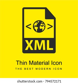 XML file format variant bright yellow material minimal icon or logo design