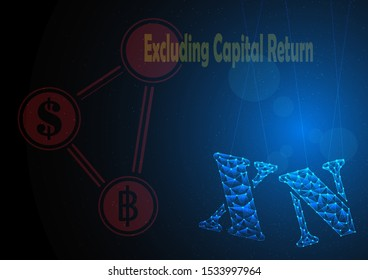 xn or excluding capital return is symbol on stock market build by line and gradient on blue black background.