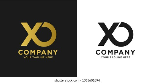 XO elegant logo template in gold color, vector file .eps 10, text and color is easy to edit