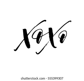 Xo Xo phrases. Phrase for Valentine's day. Ink illustration. Modern brush calligraphy. Isolated on white background.